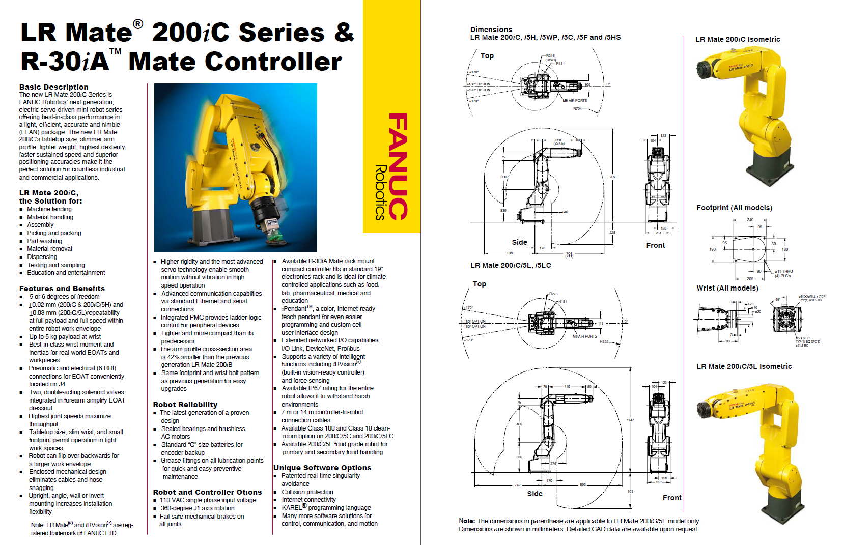 Technical specifications of the Fanuc LR Mate 200iC.